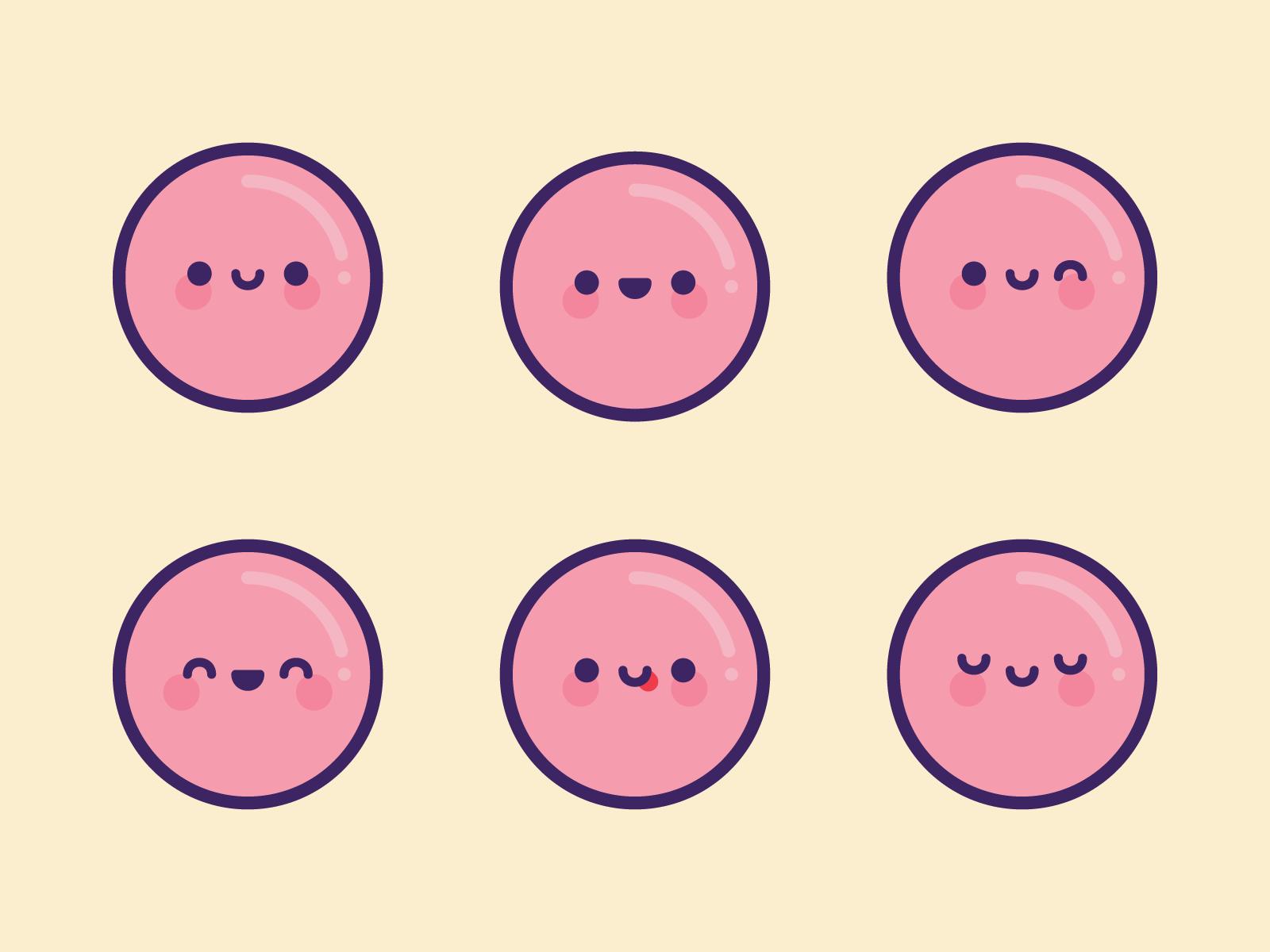 Cute Kawaii Pink Bubble Emoji