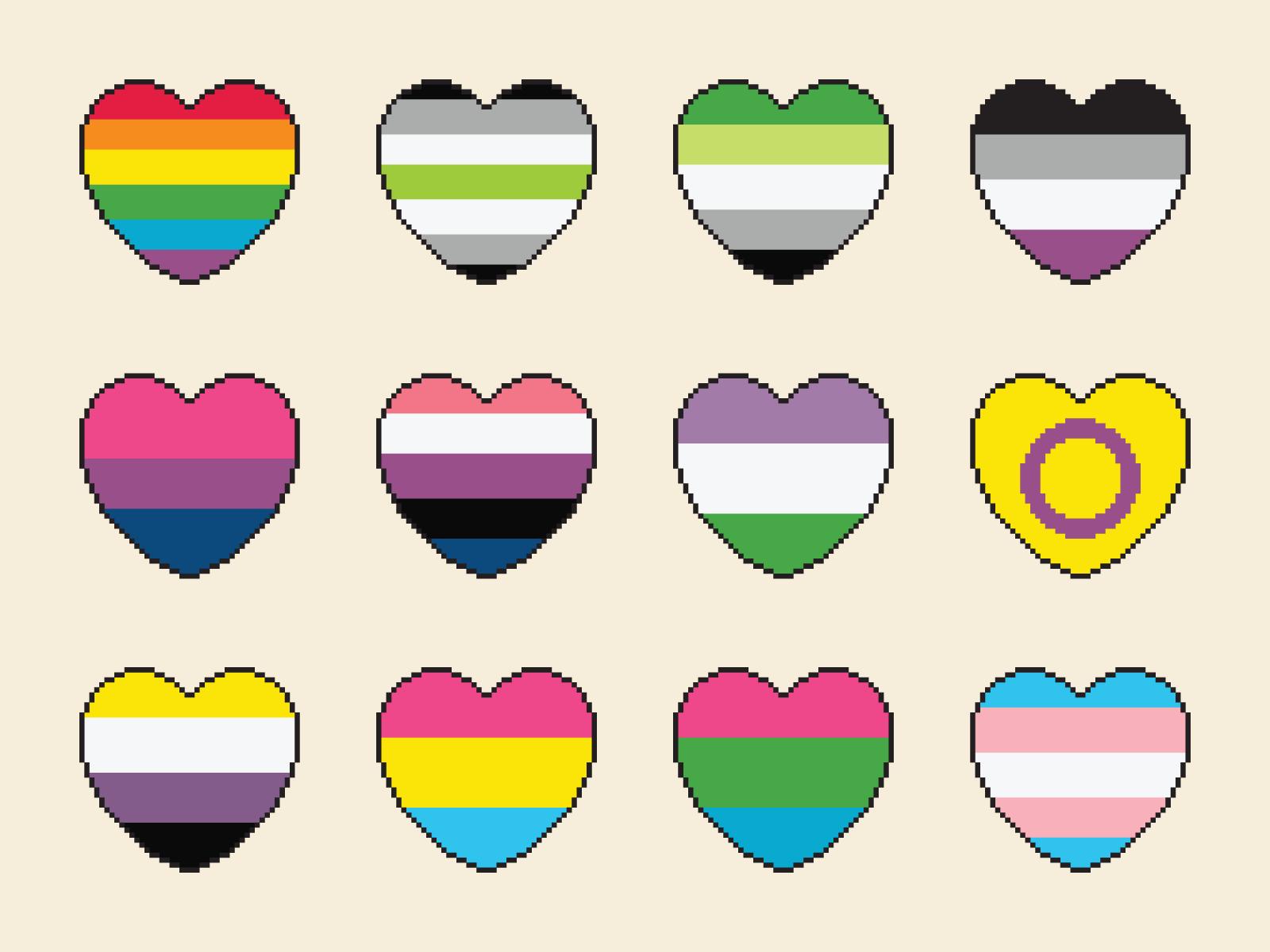 Pixel Pride Hearts