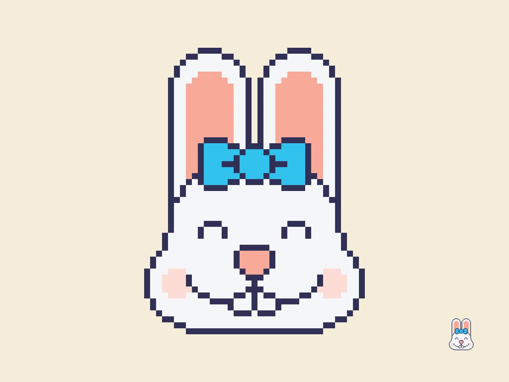 Cute Kawaii Pixel Bunny Face