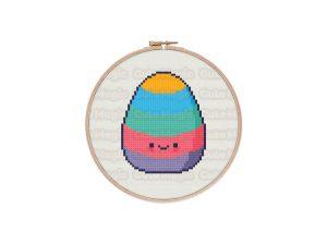 Cute Kawaii Easter Egg Cross Stitch Pattern