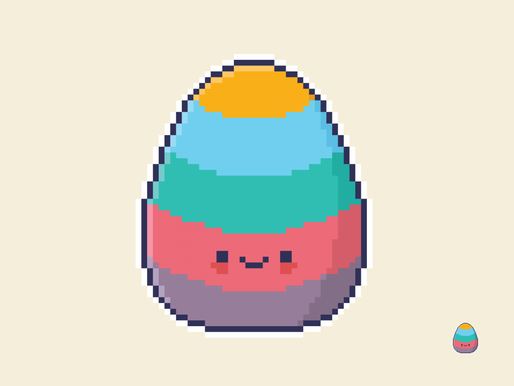 Cute Kawaii Easter Egg Pixel Art