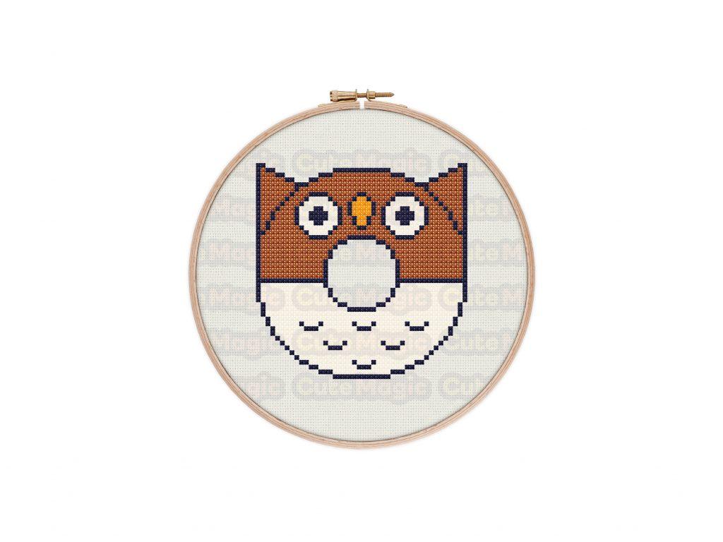 Cute Kawaii Owl Donut Cross Stitch Pattern