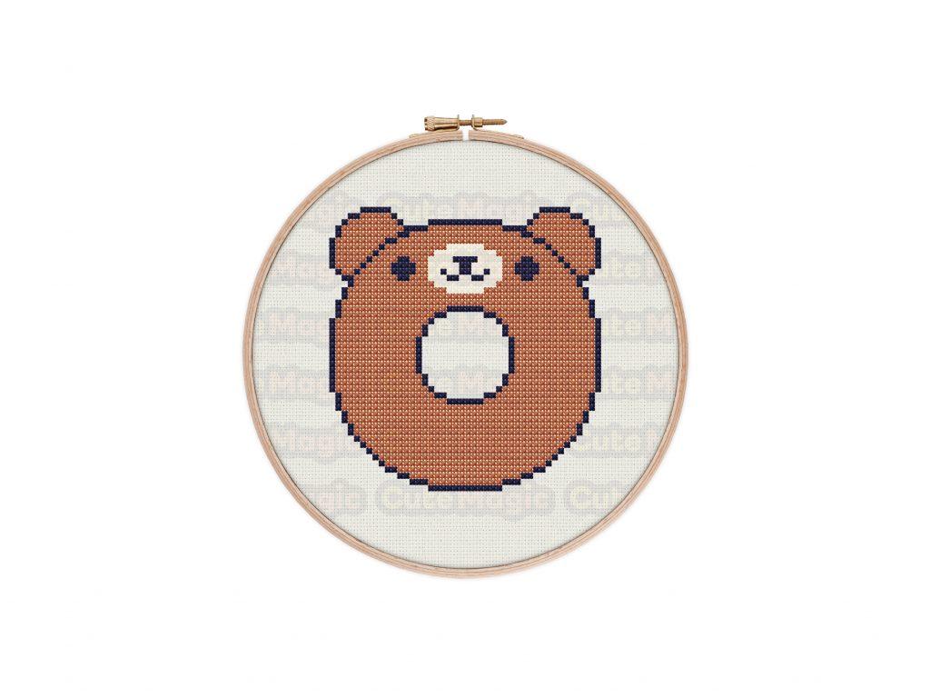 Cute Kawaii Bear Donut Cross Stitch Pattern