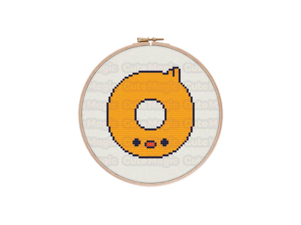 Cute Kawaii Chick Donut Cross Stitch Pattern