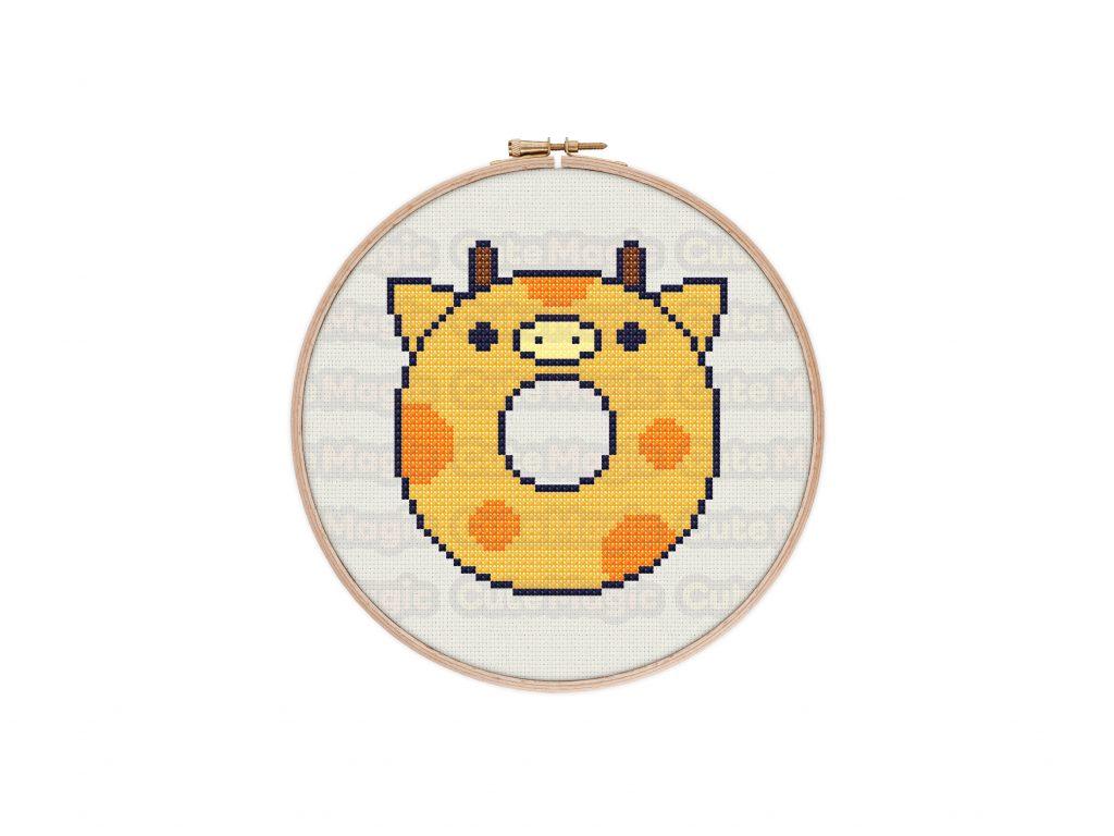 Cute Kawaii Giraffe Donut Cross Stitch Pattern