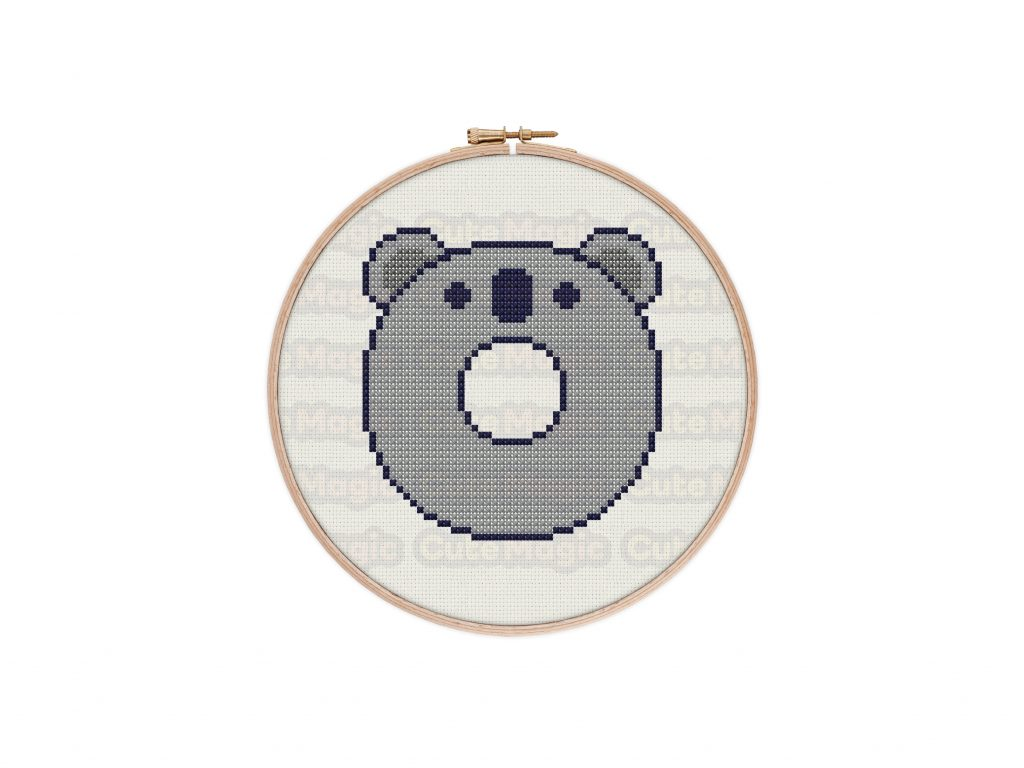 Cute Kawaii Koala Donut Cross Stitch Pattern