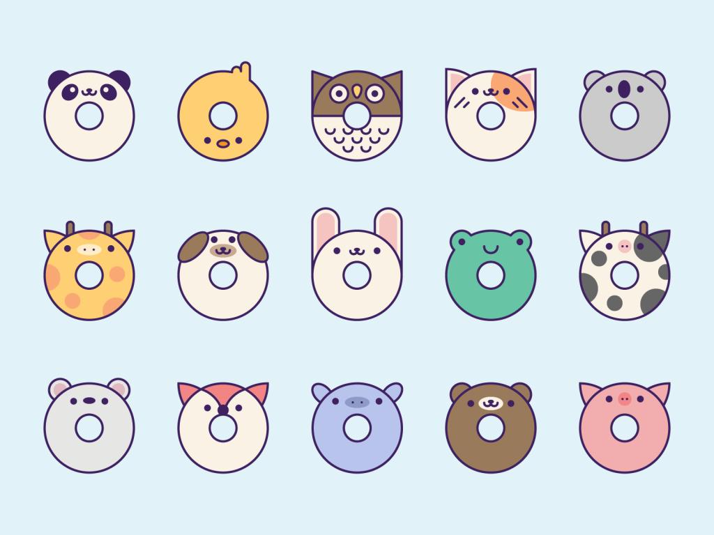 Cute Kawaii Donut Animals