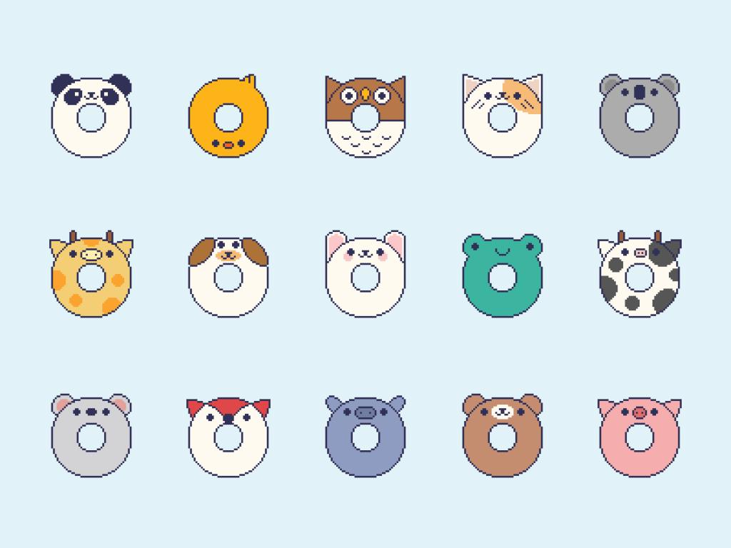 Cute Kawaii Pixel Donut Animals